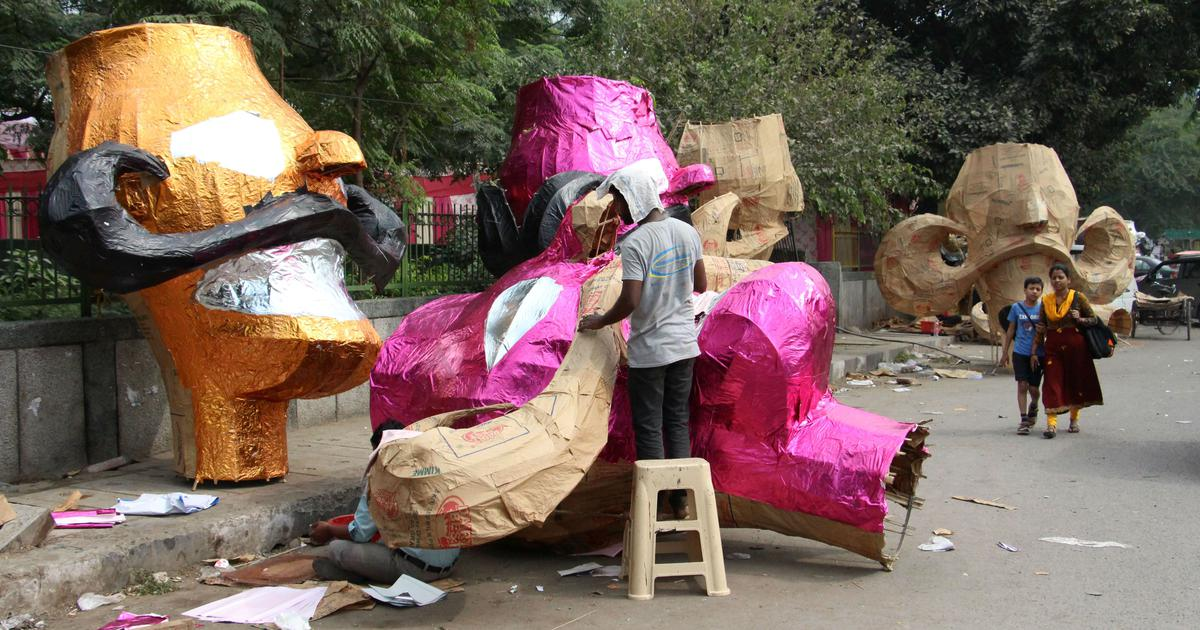 In pictures: Ravana effigies are a source of livelihood for these craftsmen in Delhi