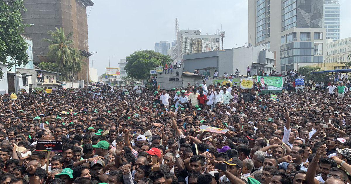 Sri Lanka: Ousted prime minister asks president to restore democracy amid huge protests in Colombo