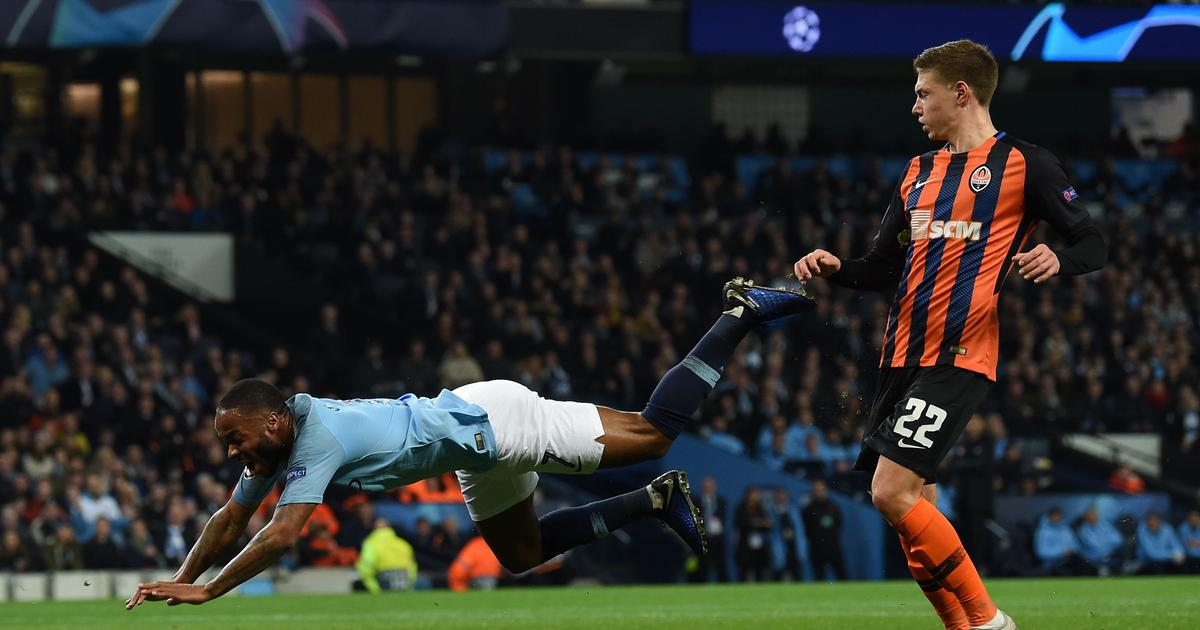 Champions League: Raheem Sterling's penalty claim against Shakhtar Donetsk has Twitter in splits