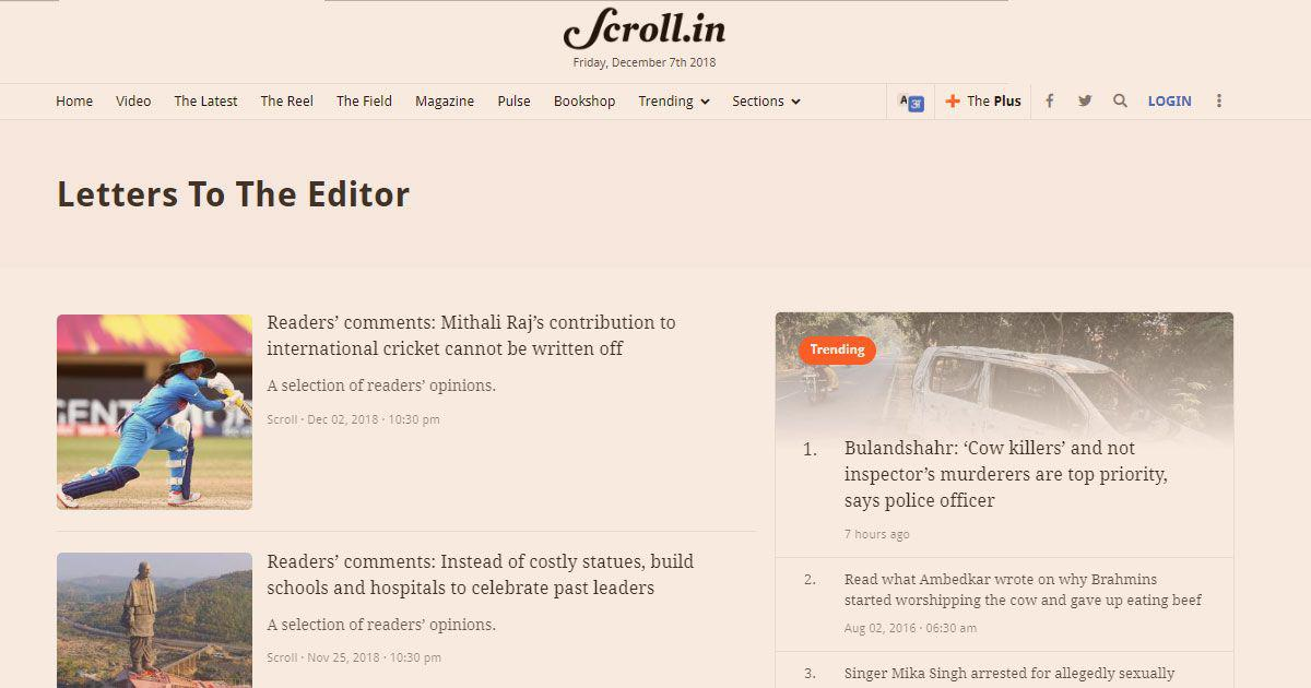 The Readers' Editor writes: I look forward to a conversation with the readers of Scroll.in