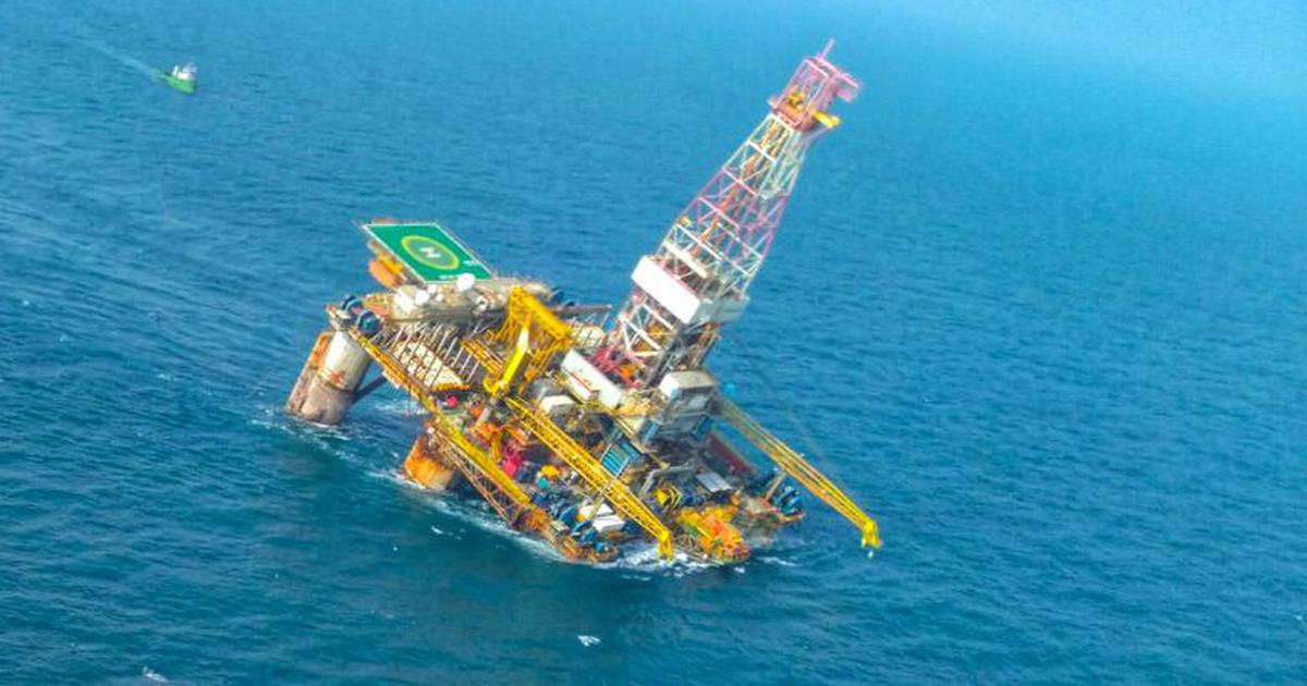 Oil rig off Andhra Pradesh coast tilts under impact of Cyclone Phethai