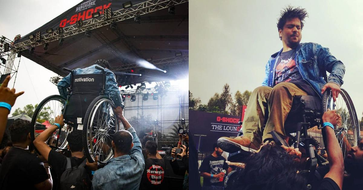 The story behind the viral photo of a wheelchair-bound man being hoisted at a Bengaluru concert