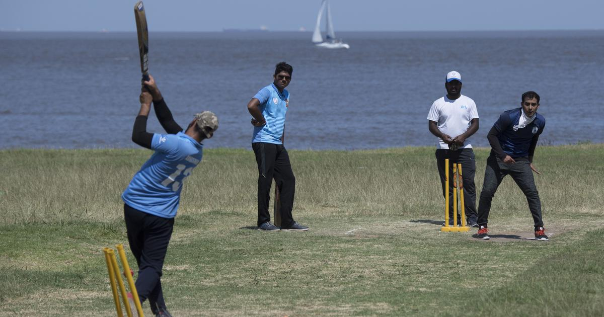 Indian ex-pats playing cricket in Uruguay's capital