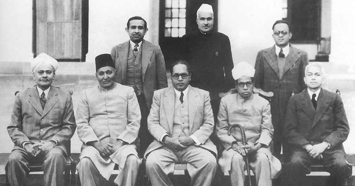 BR Ambedkar Chairman, Drafting Committee of the Indian Constitution with other members on August 29, 1947