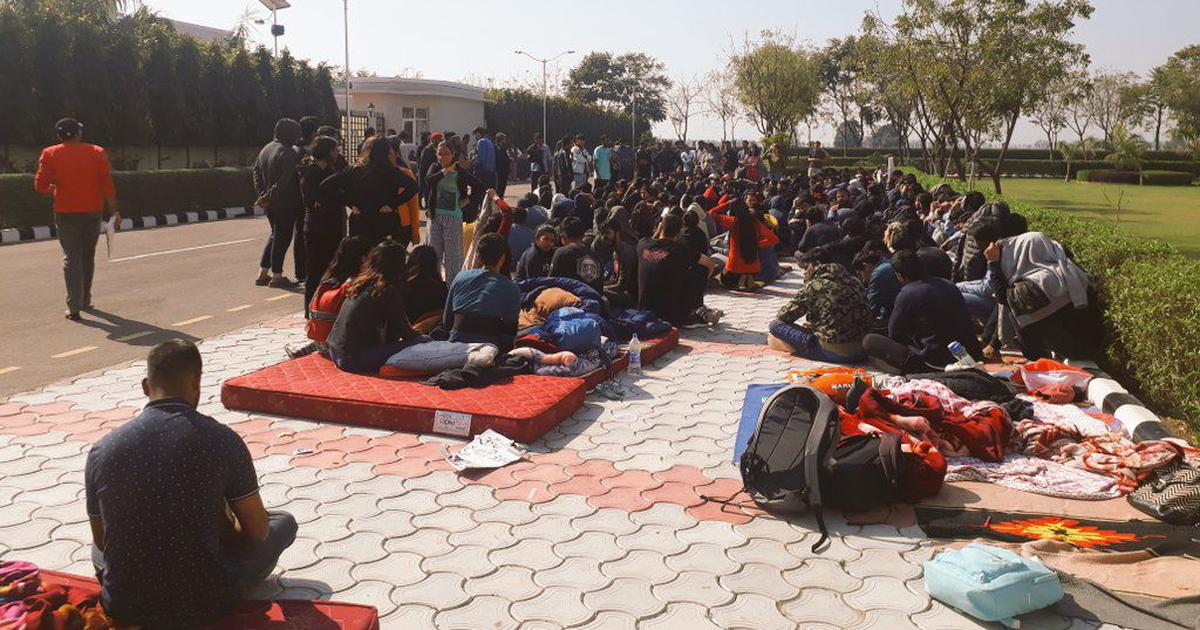 Punjab: Students at National University of Law in Patiala protest against suspension of six people