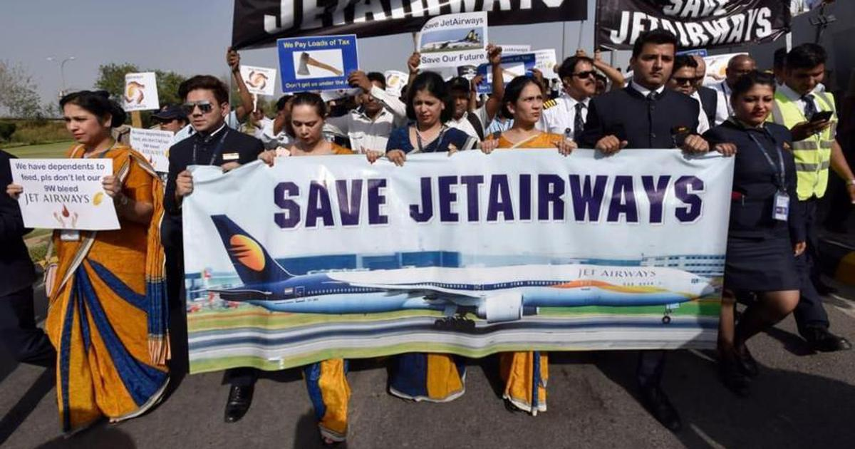 Jet Airways: Employees stage protest outside Delhi airport demanding payment of dues, job security