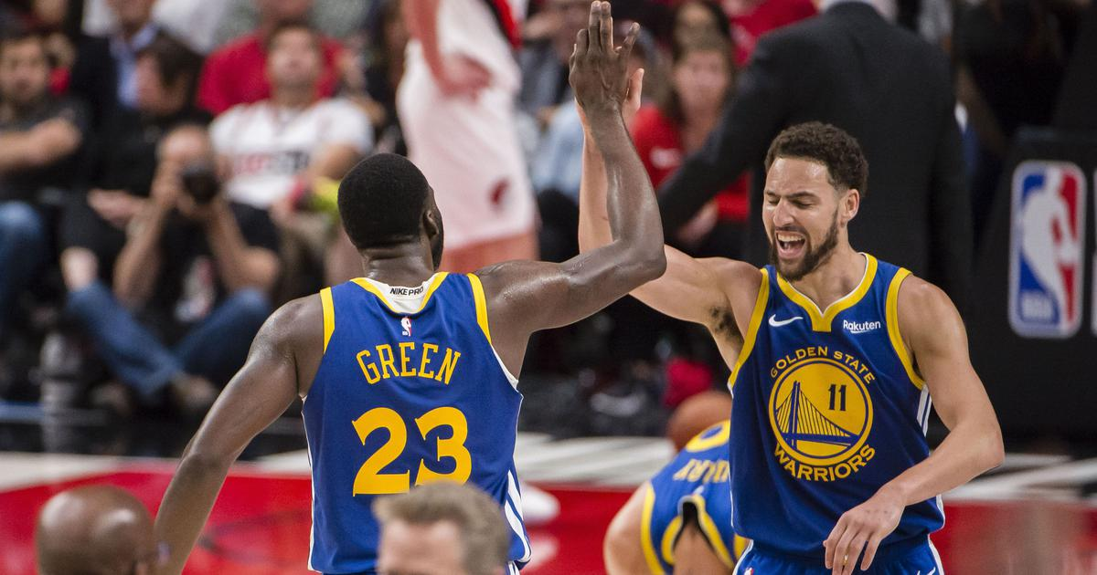 Warriors pull off 119-117 overtime victory over Trail Blazers to reach fifth straight NBA Finals