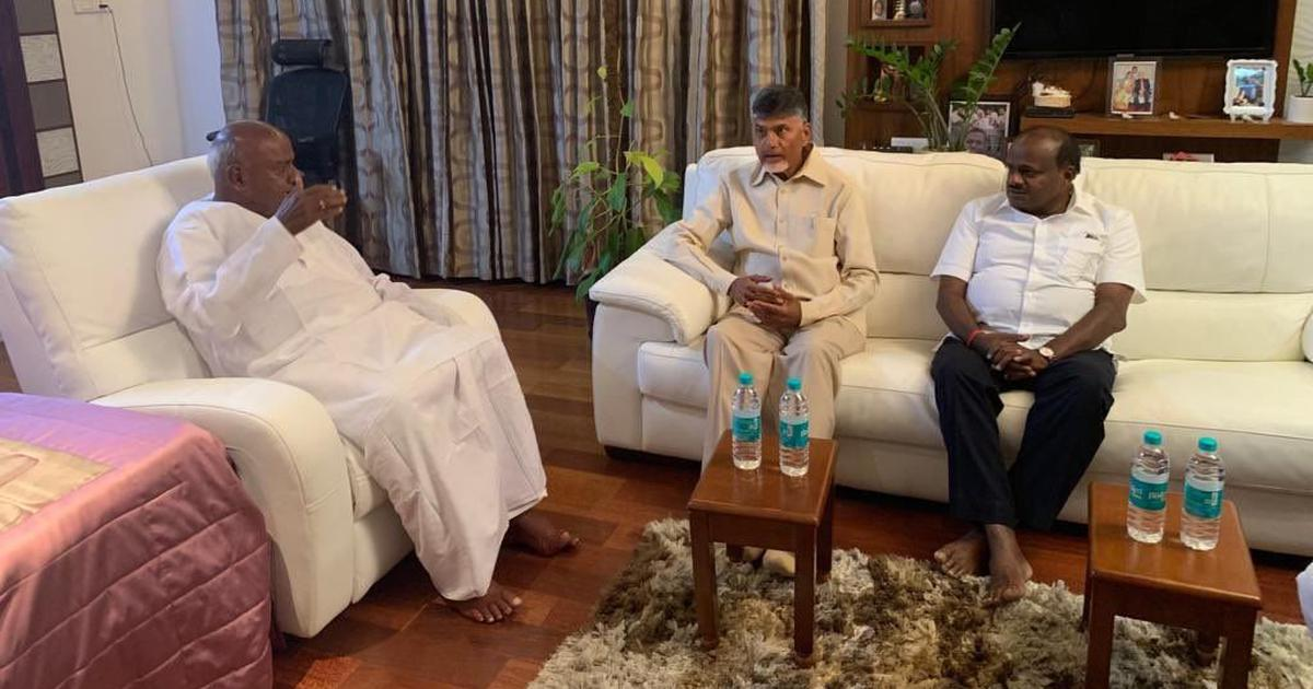 Chandrababu Naidu meets HD Kumaraswamy and Devegowda to seek support for Opposition alliance