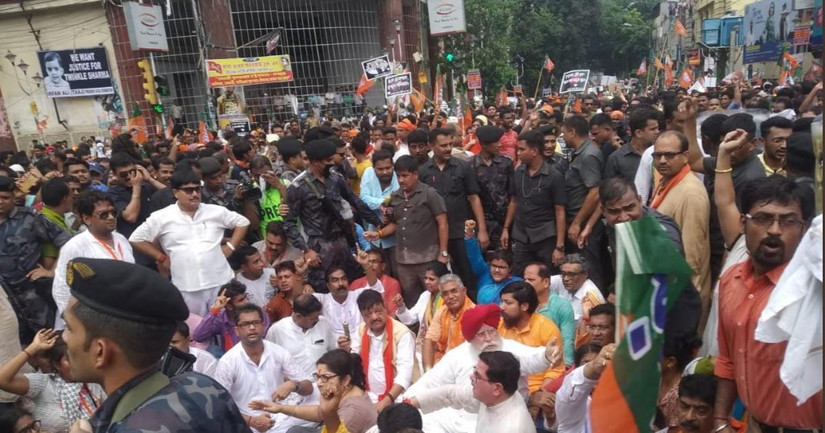 Kolkata: BJP supporters baton-charged during protest march to police headquarters
