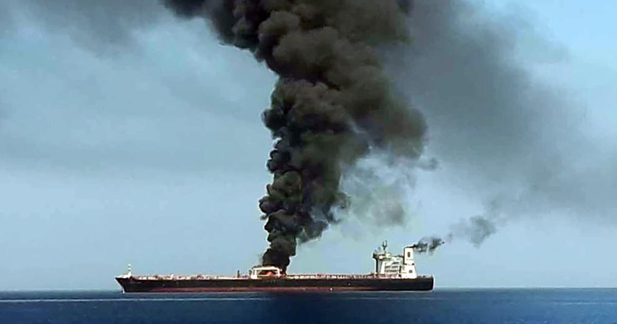 Two oil tankers catch fire in Gulf of Oman in suspected attacks