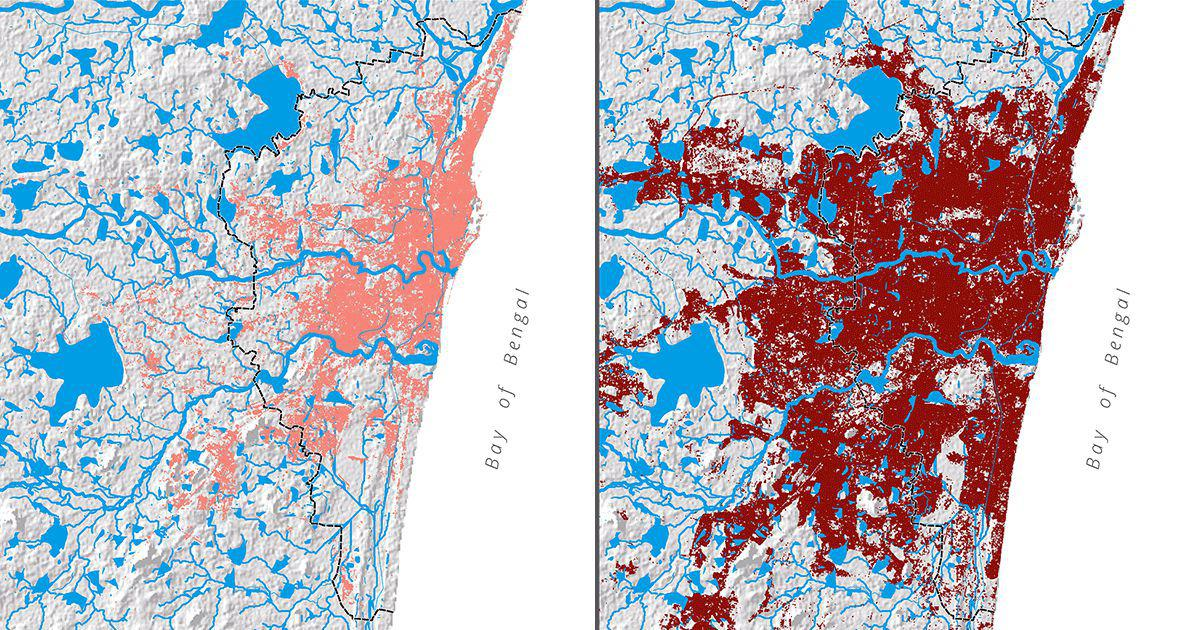 In maps: How Chennai grew over its lakes