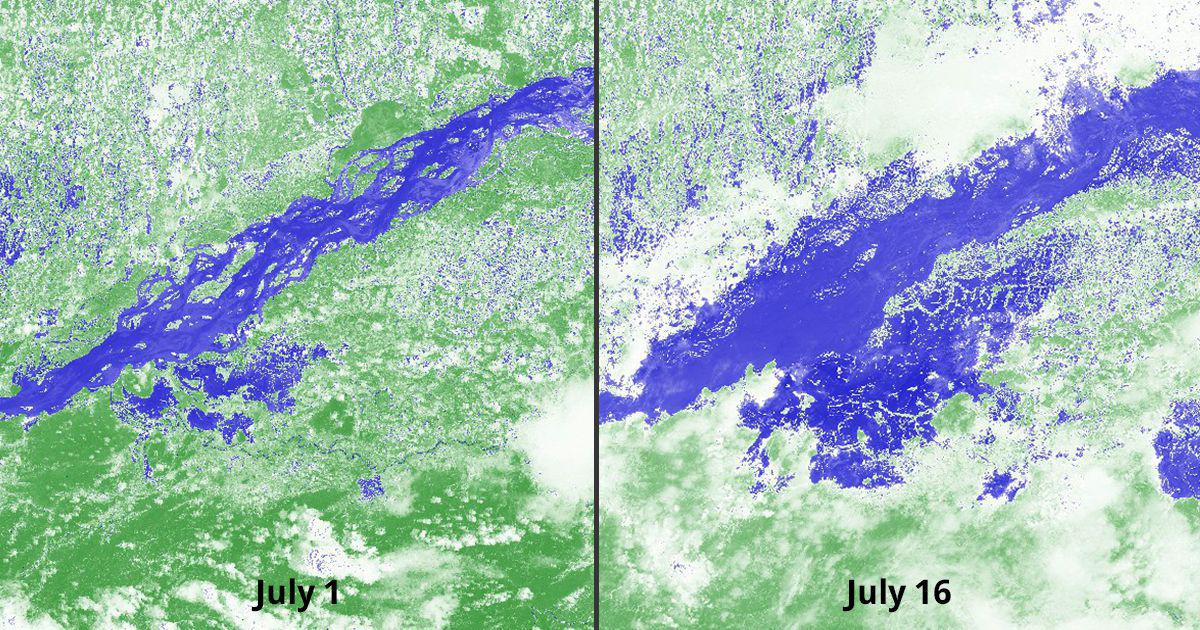 These satellite images show the severity of the floods in Assam and Bihar