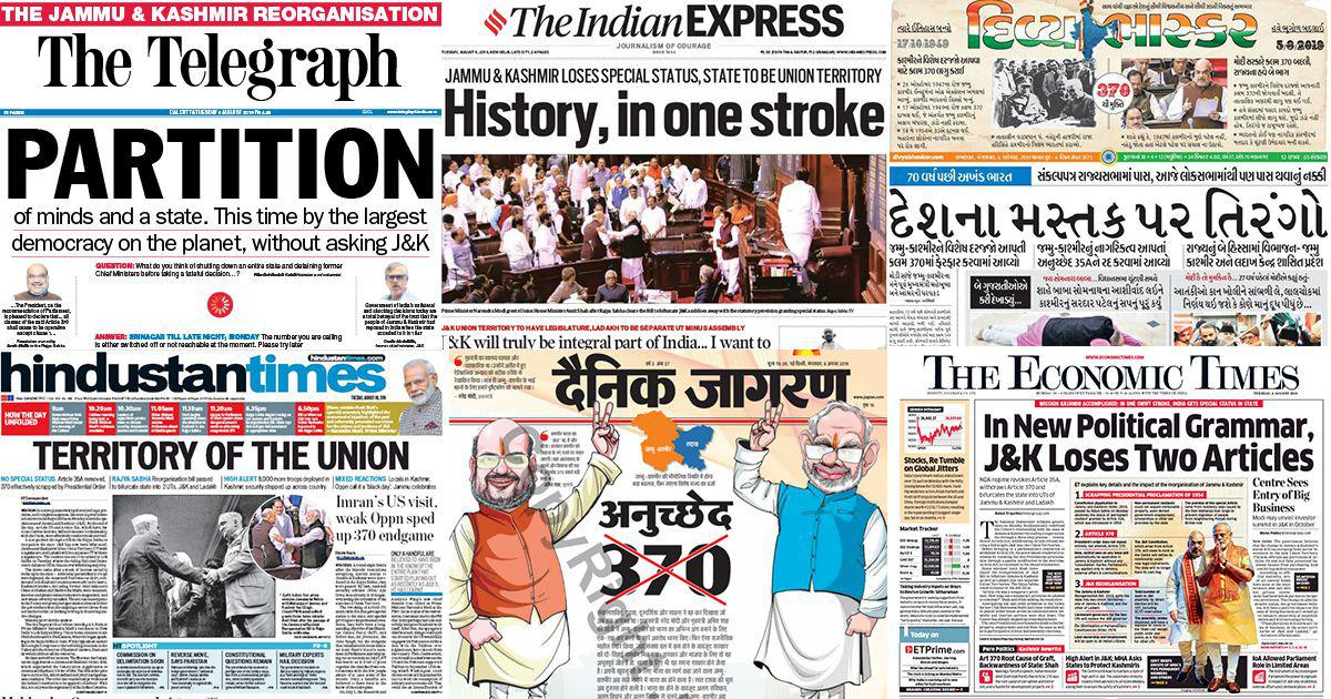 'New political grammar', 'Mission Kashmir victory': What newspaper headlines said on J&K moves