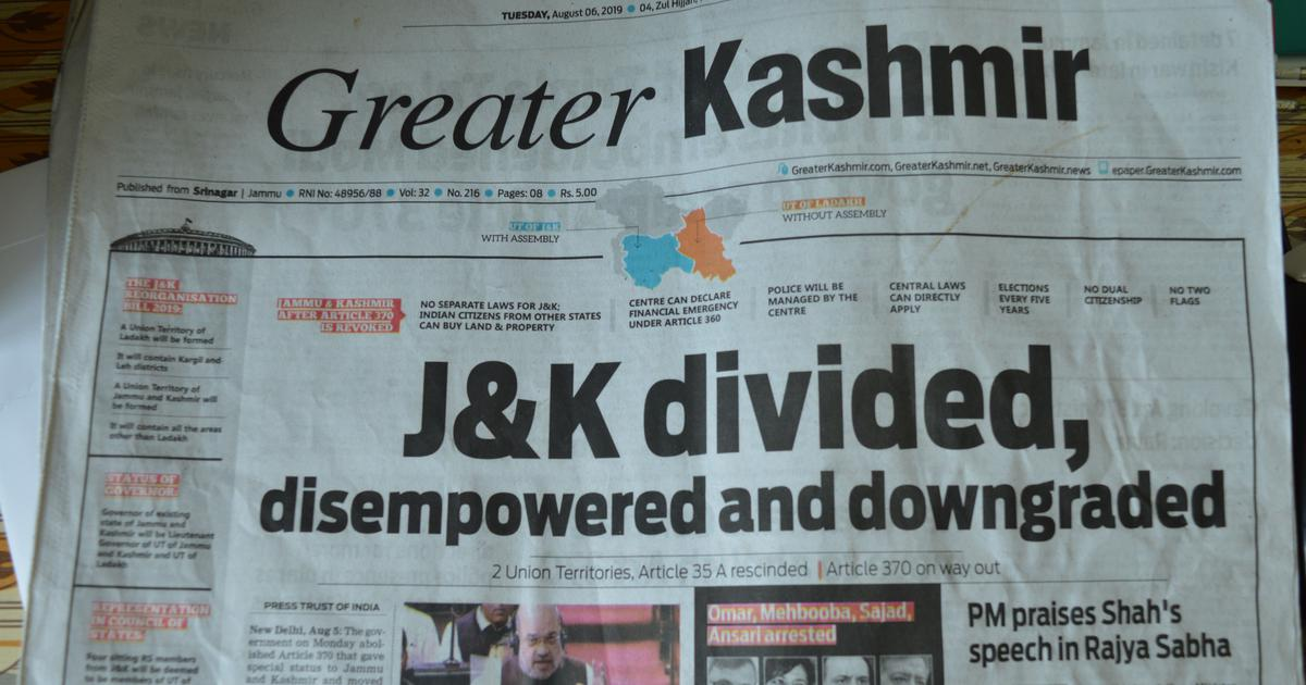 Kashmiri press went offline but still reported on Article 370 – despite all the odds