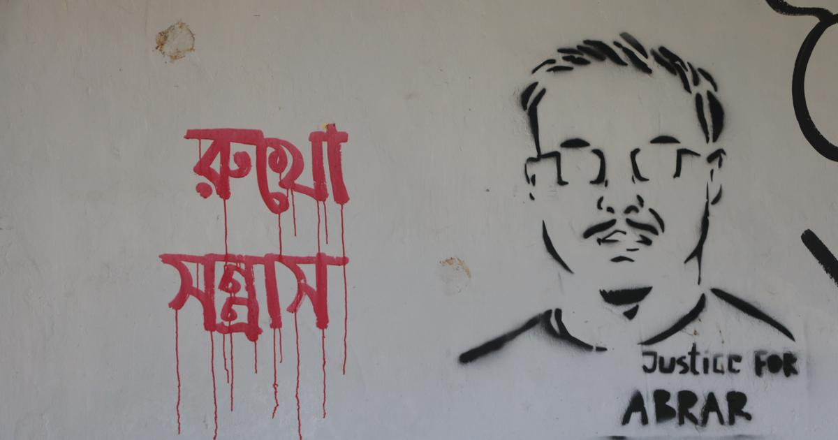 In pictures: Dhaka students paint vivid murals to protest a brutal campus murder