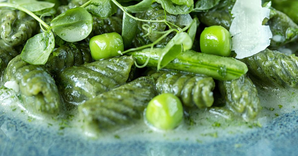 Spinach Cavatelli With Peas And Parmesan
