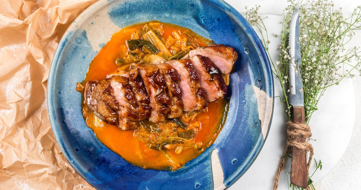 Seared Duck Breast with Kimchi Broth