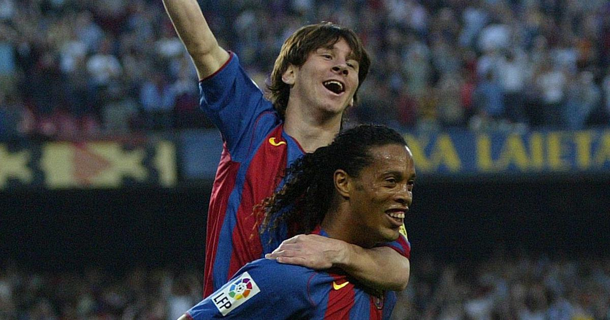 Pause Rewind Play Lionel Messi Scored His First Barcelona Goal With A Top Assist From Ronaldinho
