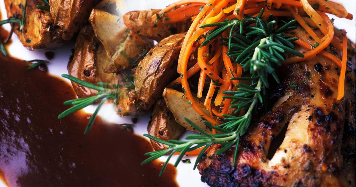 Tandoor Roasted Chicken, Rosemary Potatoes, Chilli Honey Carrots, Date And Tamarind Reduction