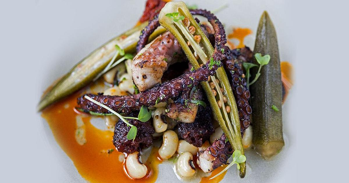 Grilled Octopus, Goan Chorizo, Black-Eyed Beans And Pickled Okra