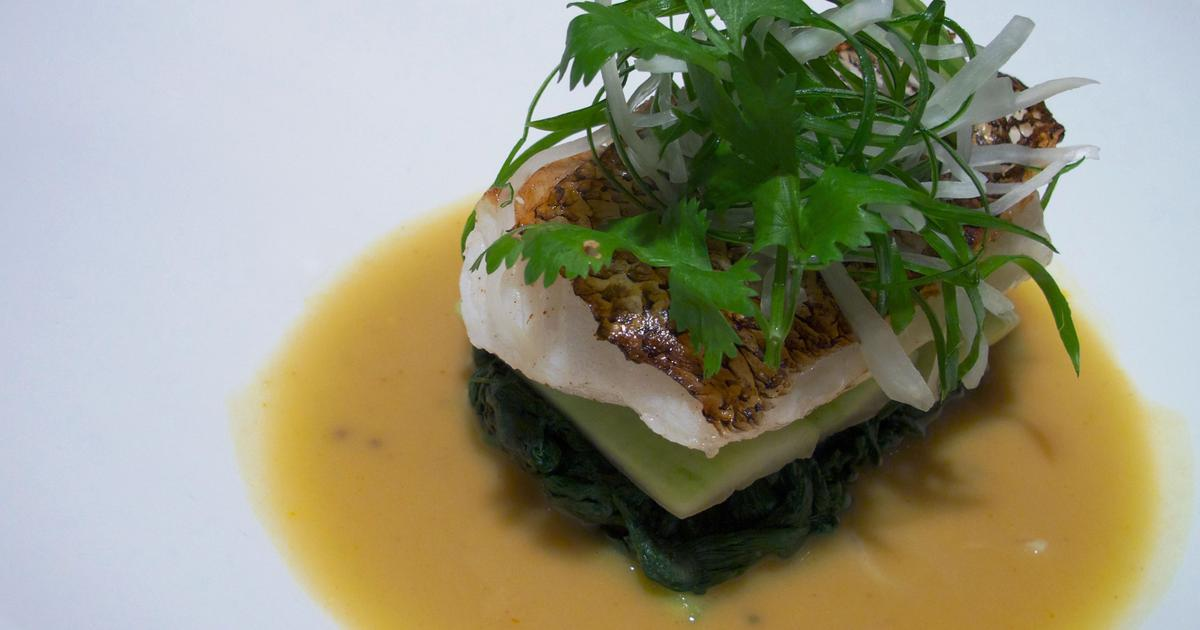 Roast Sea Bass, Shengachi Aamti-Inspired Sauce, Bok Choy And Pickled Radish