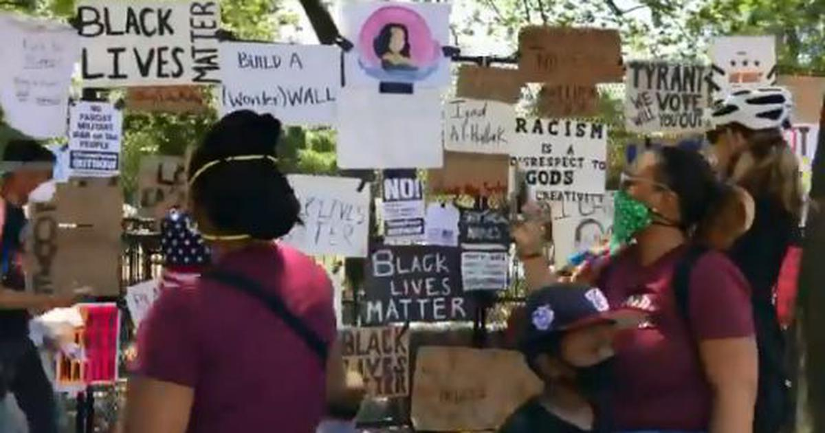 Watch: US protestors convert fence outside the White House in Washington DC into memorial wall