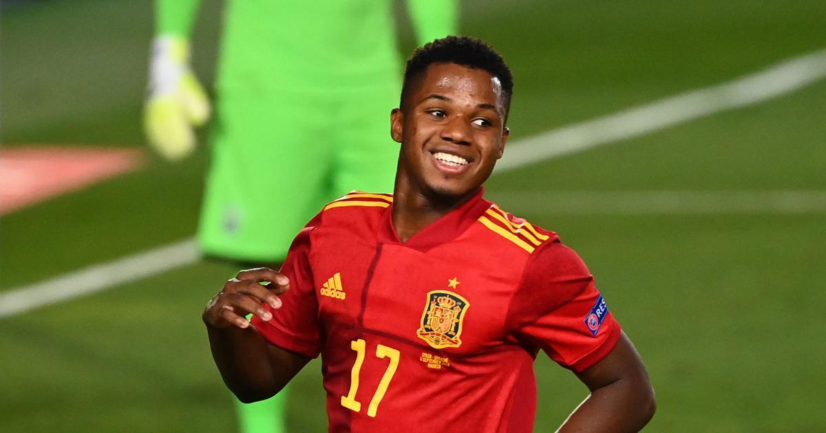 Football: Ansu Fati makes history as Spain thump Ukraine in Nations League