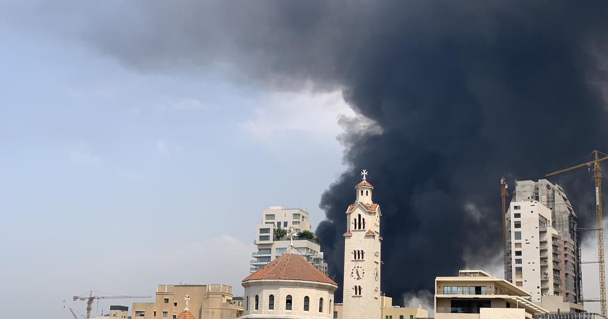 Large fire erupts at Beirut port, a month after blast