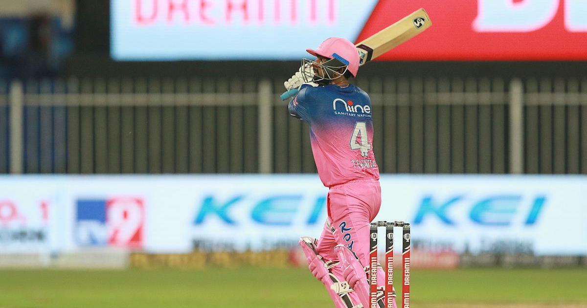 Rahul Tewatia in action against KXIP | IPL 2020 / Sportzpics / BCCI