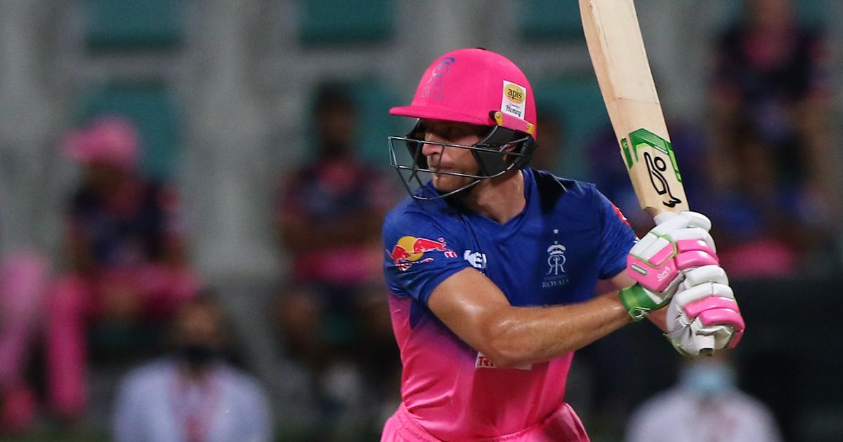 Rajasthan Royals batsman Jos Buttler in action