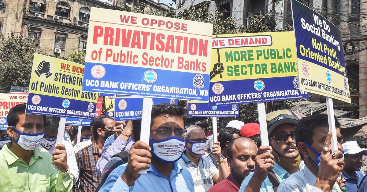 Bank employees continue strike against privatisation, warn it may extend like farmers' protest
