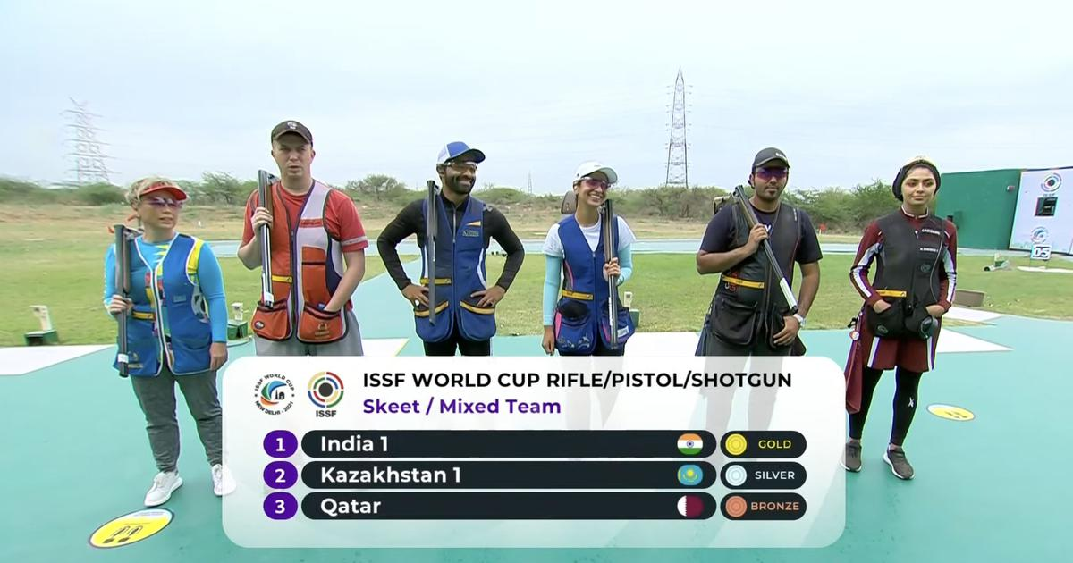 ISSF World Cup: Angad Singh Bajwa and Ganemat Sekhon win another gold for India in Skeet Mixed Team