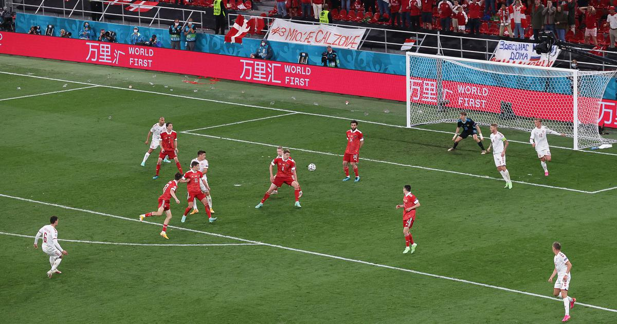 Watch: Denmark fans bring the house down as Andreas Christensen scores a screamer against Russia