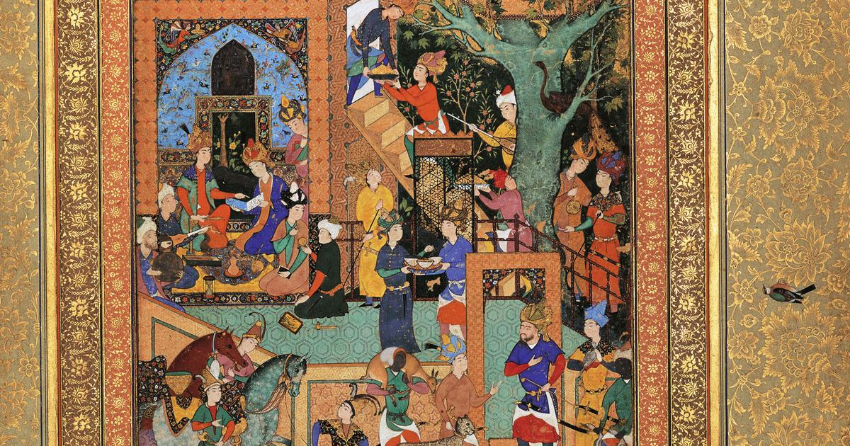 In a miniature of Humayun and Akbar, time crumples to depict an entire world of learning