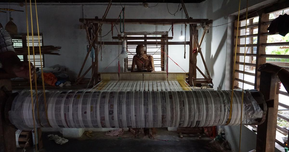 For 500 years, a Kannadiga community of weavers has produced Kerala's iconic white and gold saree
