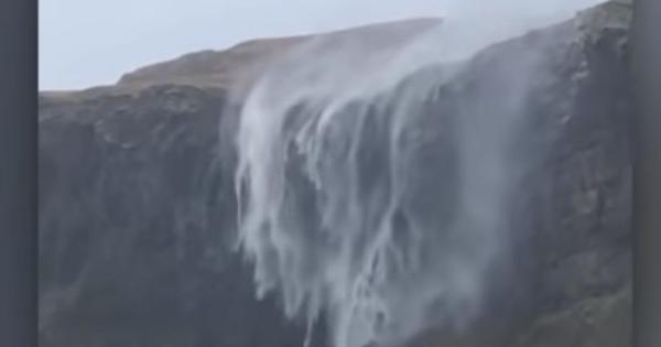 Watch: Strong winds during a storm caused a waterfall to reverse in Scotland