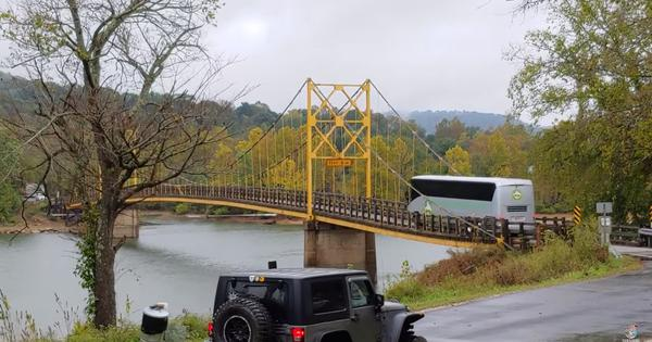 Watch: A suspension bridge in the USA sags under the weight of a huge bus crossing it