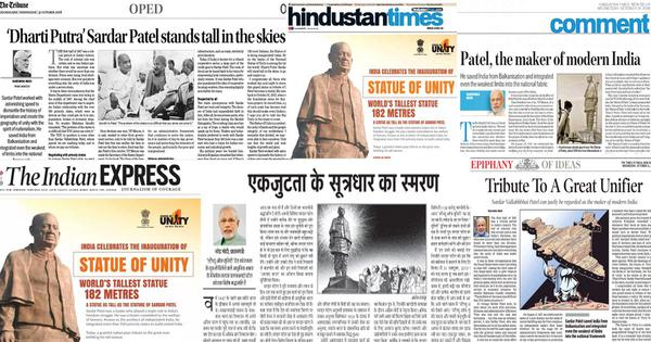 Sardar Patel celebration: Why today's front pages and op-ed sections look the same