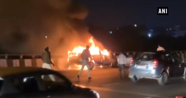Watch: A car caught fire and continued moving on a flyover in Gurugram