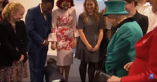 Watch: Overwhelmed nine-year-old crawls away from Queen Elizabeth on meeting her