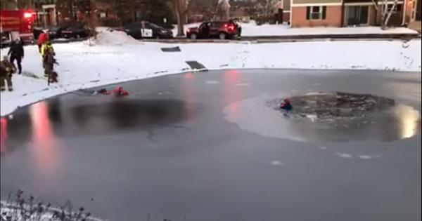 Watch the dramatic rescue of an 11-year-old who fell into a frozen pond