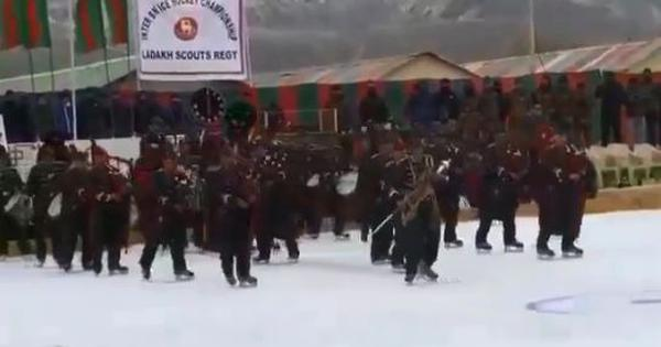 Watch the mesmerising sight of the Ladakh Scouts pipe band performing while skating on ice