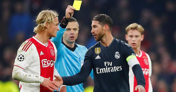 Sergio Ramos suggests he earned deliberate yellow card against Ajax, then backtracks