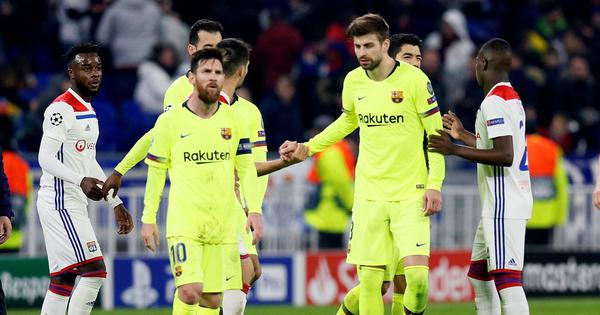 Champions League: Barcelona left frustrated after goalless draw against Lyon in first leg