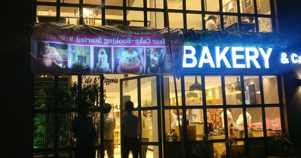 Bengaluru: Karachi Bakery outlet covers a part of its signboard after protests against its name