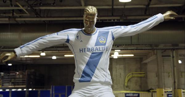 Watch: David Beckham falls for a hilarious fake statue prank by TV show host James Corden