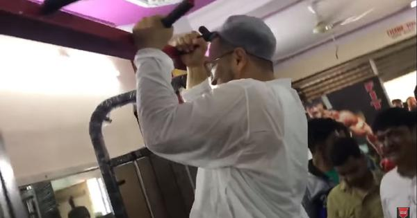 Watch: AIMIM president Asaduddin Owaisi does pull-ups in a gym during election campaigning