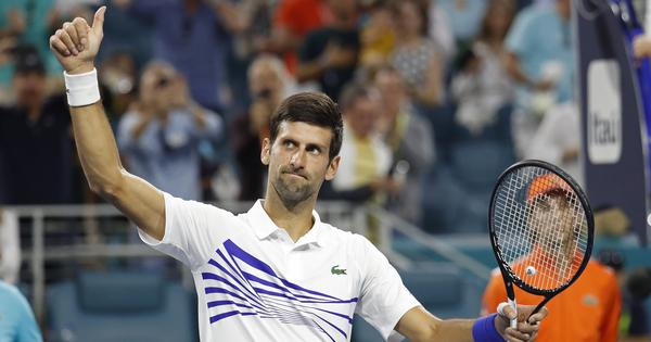 Miami Open: Novak Djokovic on course for record title after hard-fought win over Delbonis