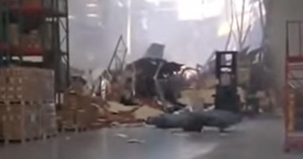 Watch: It isn't every day an F-16 fighter jet crashes into a warehouse