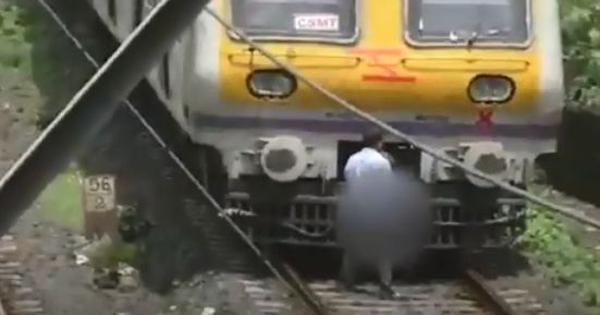 Watch: Central Railway motorman stops train to get out and relieve himself on the tracks